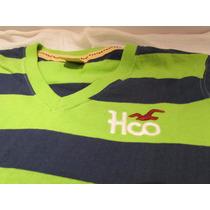 Camiseta Hollister Original Semi-nova Listrada