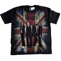 Camiseta Premium The Beatles Bandeira Inglaterra Stamp