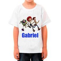 Camiseta Infantil Toy Story Com Nome Da Criança