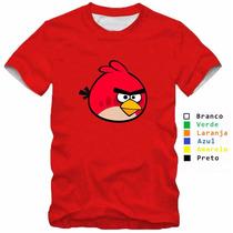 Camisa Infantil Angry Birds 100% Algodão Vermelha Jogo