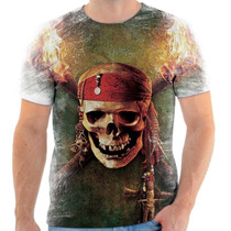 Camisa Camiseta Piratas Do Caribe Skull Caveira