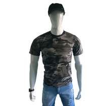 Camiseta/camisa/blusa Masculina Camuflada Cinza Algodão