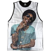 Wiz Khalifa Regata Camiseta Personalizada Swag Face Rosto