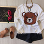 Tricot Casaco Urso Ted Teddy Thassia Naves Moschino