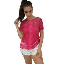 Blusa Em Renda Rosa Pink Unique Chic Frete Grátis