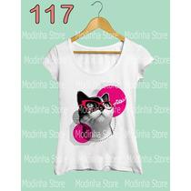 Tshirt Feminina Estampa Gato Miau Look Do Dia