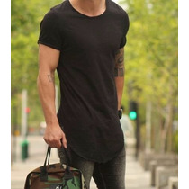 5 Camisetas T-shirt Masculina Long Longline Longa - Oferta