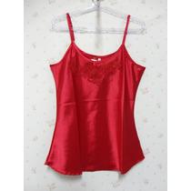 Blusa De Cetim Vermelha- Blusinha Feminina - Renda Vermelha