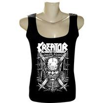 Camiseta Blusa Regata Feminina Rock Bandas Kreator