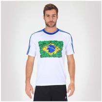 Camiseta Climacool Adidas 3s Wc14 Bandeira Brasil Branca