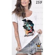 Camiseta T-shirt Madonna Fashion Feminino Blusa Baby Look