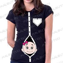 Camiseta Baby Look Gravida Gestante Bebe Na Barriga Espiando