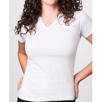 Camiseta Fem - Gola V - Malha Penteado - Fio 30.1