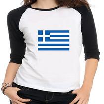 Camiseta Raglan Bandeira Grécia - Feminina