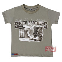 Camiseta Infantil The Cowboy Style Kaki 100% Algodão - Smith
