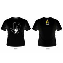 Camiseta Star Trek - Spock - Hand Sign (preta Ou Branca)
