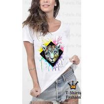 Baby Look T- Shirt Tigre Colorido Fashion Personalizada