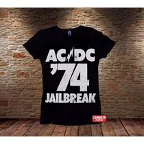 Camiseta Feminina Banda Ac/dc 74 Jailbreak Rock Angus Young