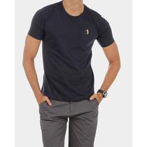 Camiseta Slim Fit Aleatory Básica Azul Marinho Estilo Luxo