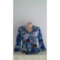 Blusa Em Liganete Estampada 3/4 Tamanho G+ Brinde+pronta Ent