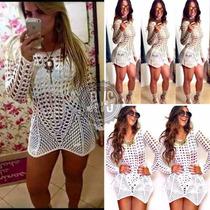 Mini Vestido Panicat Blogueiras Tendência Balada Tricot
