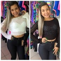 Cropped Top Trico Renda Bruna Marquezine Kit C/3 R$ 55,90