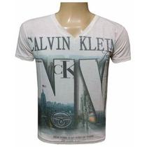 Camiseta Calvin Klein Gola V Ou Canoa - Kit Com 20 Unidades