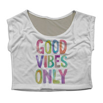 Top Cropped Mini Blusa Fitness Academia Good Vibes Only