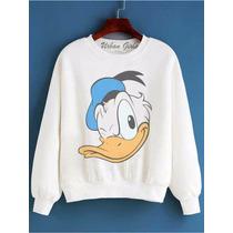 Moletom Blusa Frio Sueter Abrigo Jaqueta Pato Donald Face 01