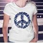Frete Barato Camiseta Feminina Peace Símbolo Da Paz Floral