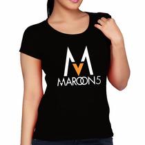 Baby Look Maroon 5 - Camiseta Musica Eletronica Blusa Fem