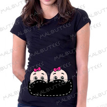 Camiseta Baby Look Gestante Bebe Na Barriga Gêmeos Espiando