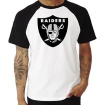 Camiseta Camisa Oakland Raiders Nfl Swag Raglan Manga Curta