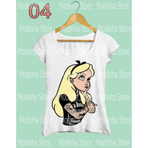 Blusa Tshirt Feminina Princesa Disney Alice Punk Rock Tatoo