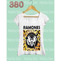 Camiseta Blusa Tshirt Feminina Estampa Ramones Rock Oncinha