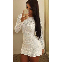 Vestido Feminino Tricot Crochê Renda Roupa Feminina Branco