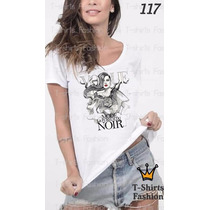 Camiseta T-shirt Vogue Noir Fashion Feminino Blusa Baby Look