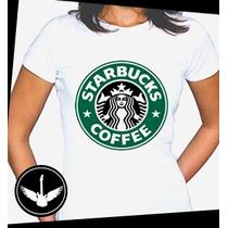 Camiseta Starbucks Café Baby Look Regata Blusa Hipster Geek