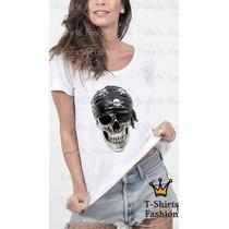 Baby Look T- Shirt Caveira Com Bandana Fashion Personalizada