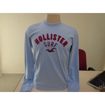 Camiseta Manga Longa Hollister Original Azul Pronta Entrega