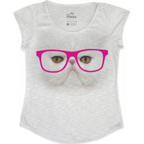 Blusa - T Shirt - Feminina Gatinho De Óculos Pink
