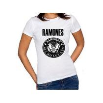 Camiseta Feminina Baby Look Banda Ramones 100% Algodão
