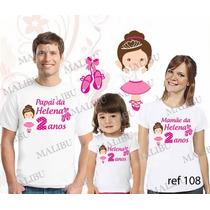 Lembrança De Aniversario Bailarina Camiseta Kit Com 3