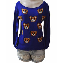 Blusa Tricot Urso Azul Royal
