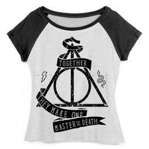 Camiseta Raglan Feminina Harry Potter Relíquias Da Morte 02