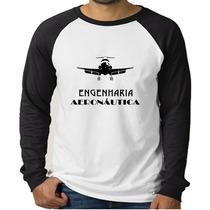 Camiseta Raglan Engenharia Aeronáutica- Manga Longa.