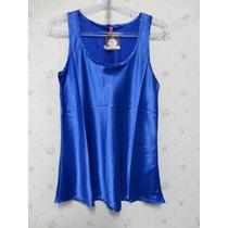 Blusa De Cetim Azul - Blusinha Feminina - Cetim - Azul