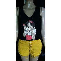 Blusa Camiseta Princesa Disney Tatuada Branca De Neve Punk