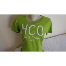Camiseta Fem Hollister Original Verde Tam. G Pronta Entreg