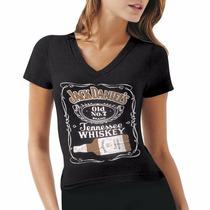 Blusa Camiseta Baby Look Feminina Jack Daniels Whiskey Preta